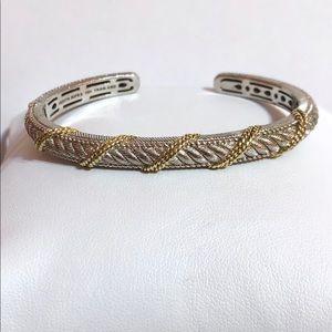 Judith Ripka 925 Cuff Bracelet w/ gold accent
